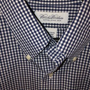 Brooks Brothers Navy Gingham Button Down 16.5
